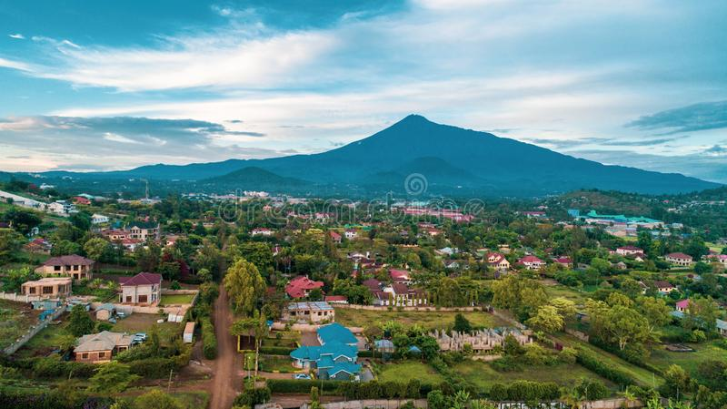 The landscape of Mount meru in Arusha, Tanzania. Mount meru in Arusha, Tanzania stock image