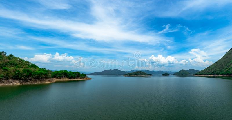 Landscape of mountain with beautiful blue sky and white clouds at Kaeng Krachan dam in Thailand. Beautiful view of  Kaengkrachan stock photos