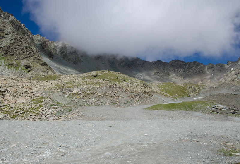 Landscape of Mountain and Dramatic Cloud stock photography