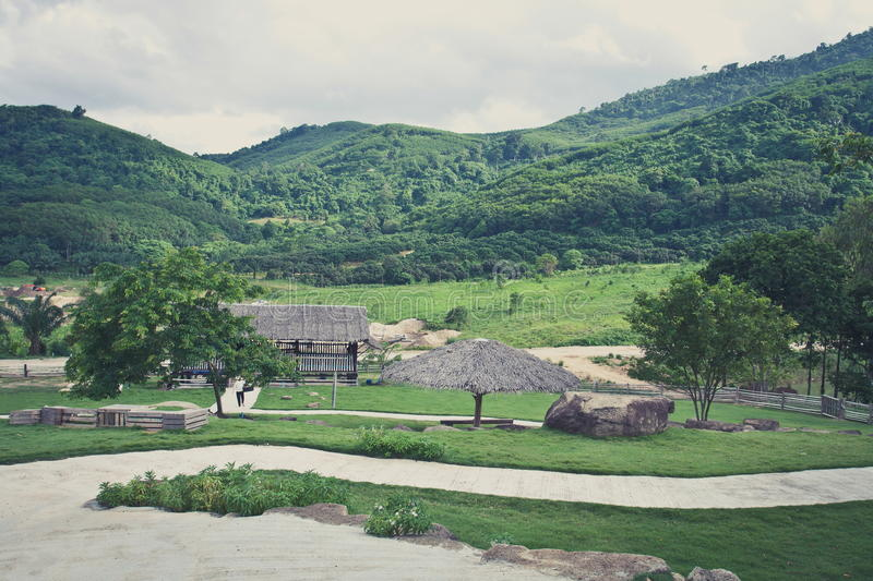 Landscape of mountain and farm ,Vintage stock photography