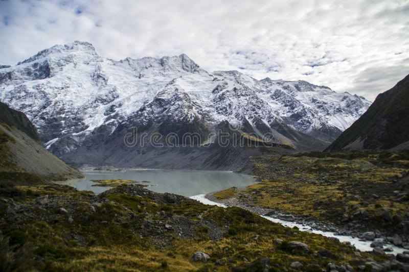 Aoraki/Mount Cook National Park, New Zealand. Landscape mountain photo from Valley walking track, Aoraki/Mount Cook National Park, South Island, New Zealand royalty free stock images