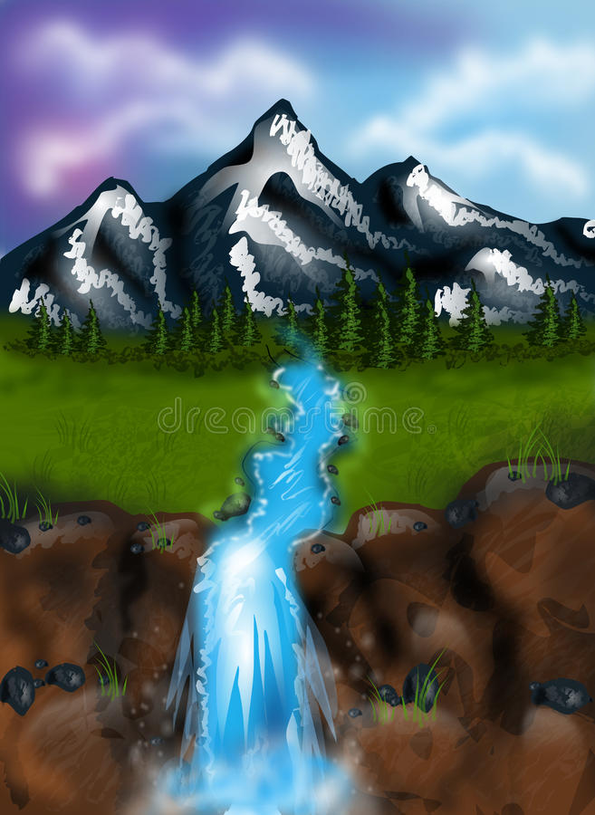 Landscape with mountain and river. Beautiful illustration of landscape with river and huge mountain vector illustration