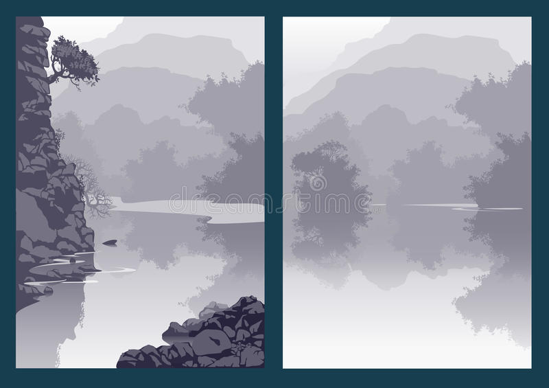 Landscape with mountain river and trees. Gorge canyon. vector illustration