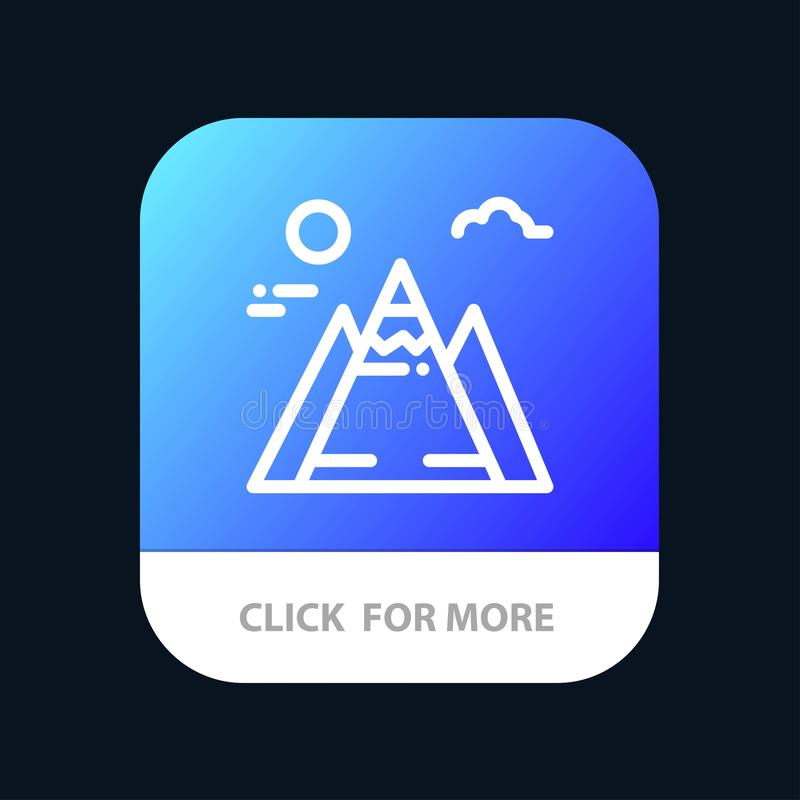 Landscape, Mountain, Sun Mobile App Button. Android and IOS Line Version stock illustration