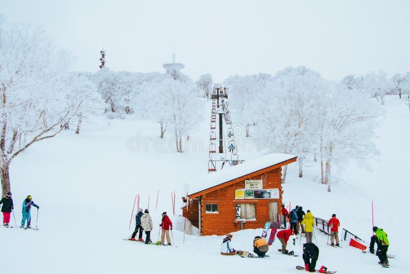 Landscape and Mountain view of Nozawa Onsen in winter , Nagano, Japan royalty free stock images