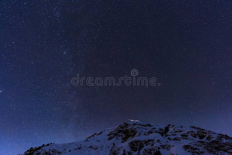 Landscape with mountains and blue sky in winter night stock photo