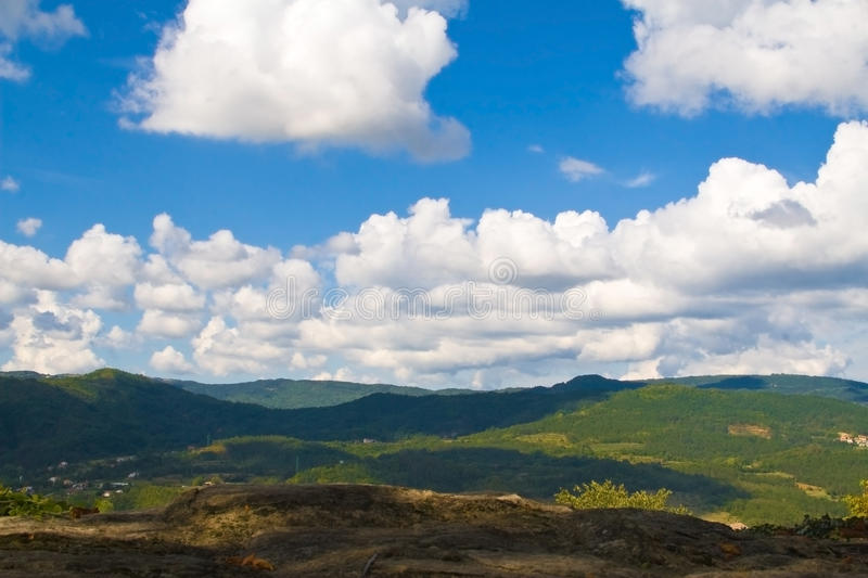 Landscape, mountains and clouds royalty free stock photo