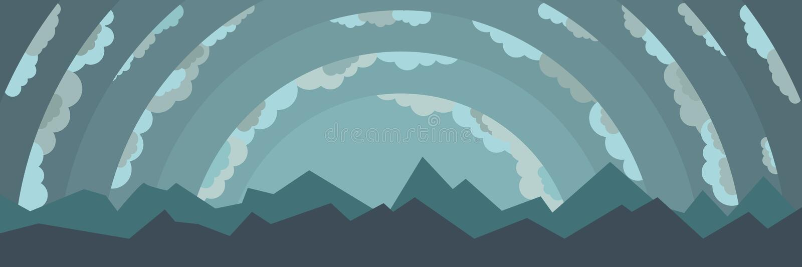 Landscape with mountains and clouds stock illustration