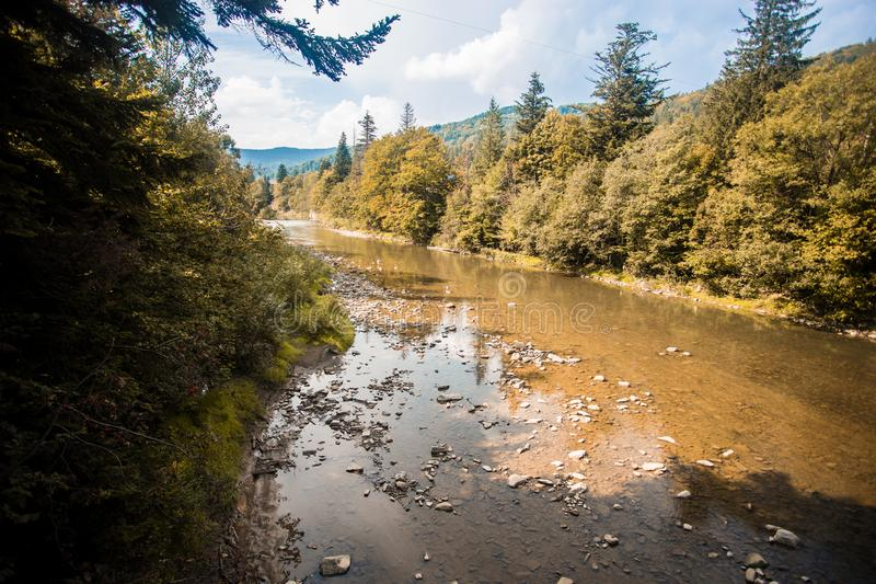 landscape with mountains, forest and river in front royalty free stock images