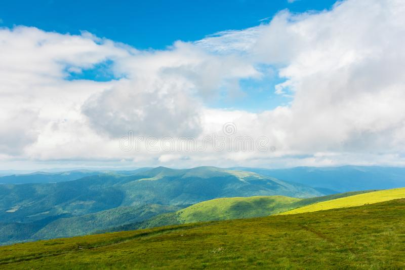 Landscape in mountains. hills and meadows stock photo