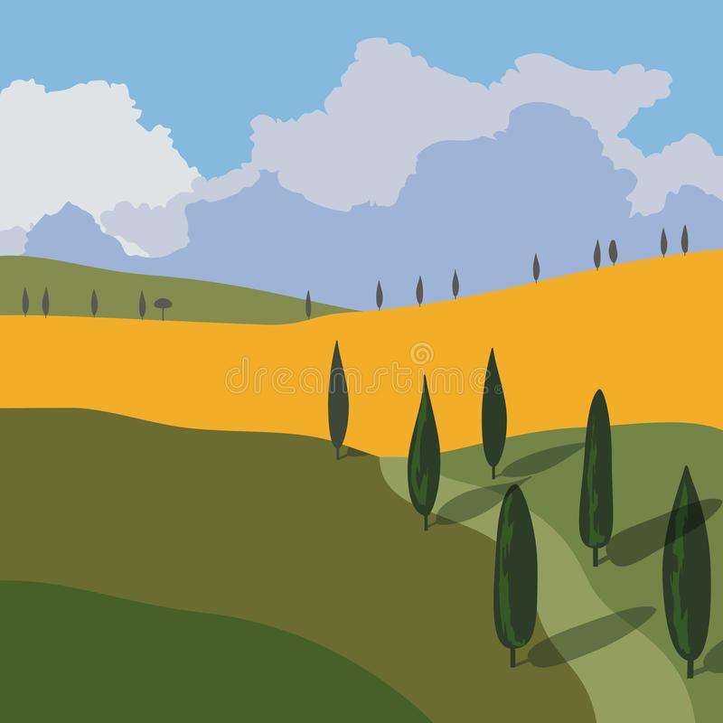Landscape with mountains and hills. Tuscany, outdoor recreation background. vector illustration