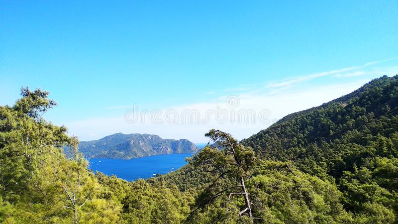 Landscape of mountains, seas and cities in the distance,blue sky,selective focus.  stock photos