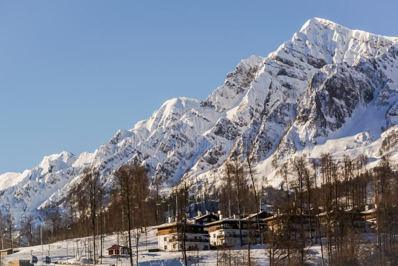 Mountains and ski slopes of the ski resort Rosa Khutor, Sochi. royalty free stock photo