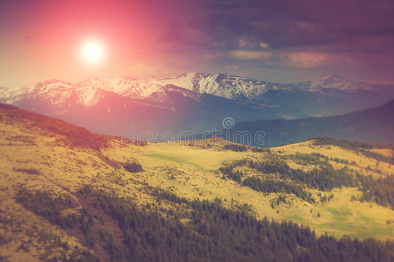 Landscape in the mountains:snowy tops and spring valleys at sunlight. Landscape in the mountains:snowy tops and spring valleys. Fantastic evening glowing by royalty free stock photo