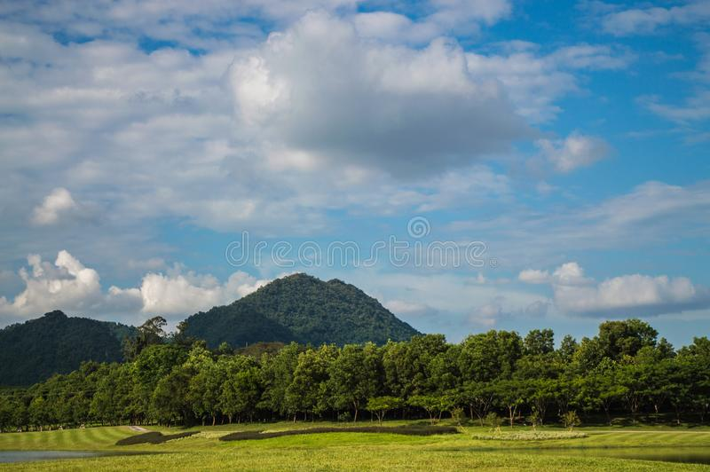 Landscape. Mountains ,trees and blue sky. Landscape. Mountain ,trees and blue sky. take photography in Chiang Rai, Thailand royalty free stock photography