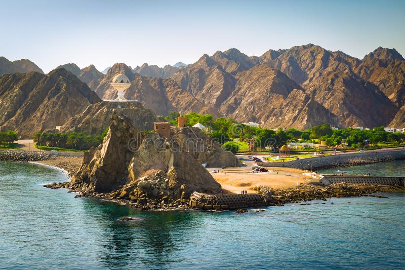 Landscape of Muscat, Oman with Muttrah incense burner, Middle East. Mountain landscape of Muscat, Oman. Park with giant incense Frankincense Burner near the stock images