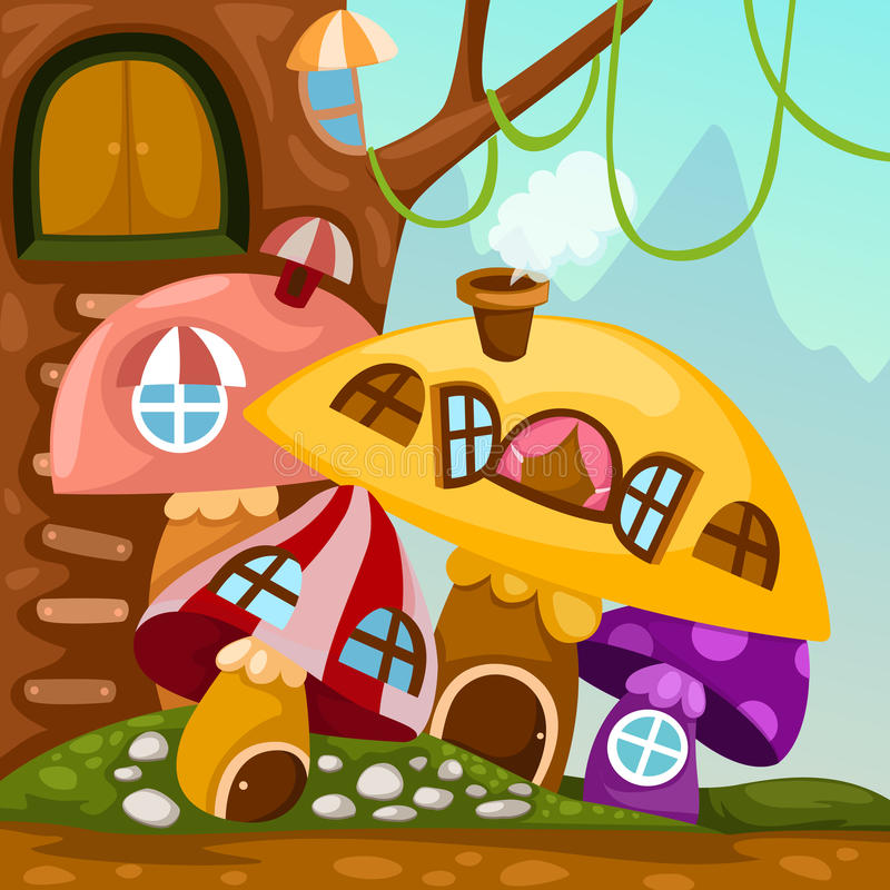 Download Landscape mushroom house stock vector. Image of cartoon - 24254504
