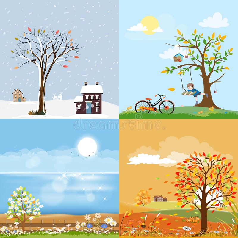Free Landscape Natural Backgrounds Of Four Seasons. Winter Wonderland,Spring Green Field,Sunny Day Sea Beach In Summer,Autumn With Farm Stock Photo - 210146130