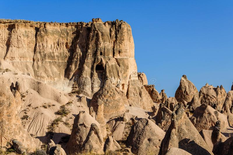 Landscape of natural rock formation Imagination or Devrent Valley, Cappadocia, Goreme, Turkey. stock photo