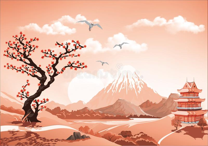 Landscape of nature Asia this morning, Asia Palace, volcano stock illustration