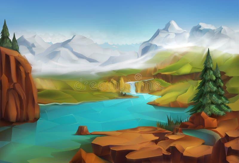 Landscape, nature background vector illustration