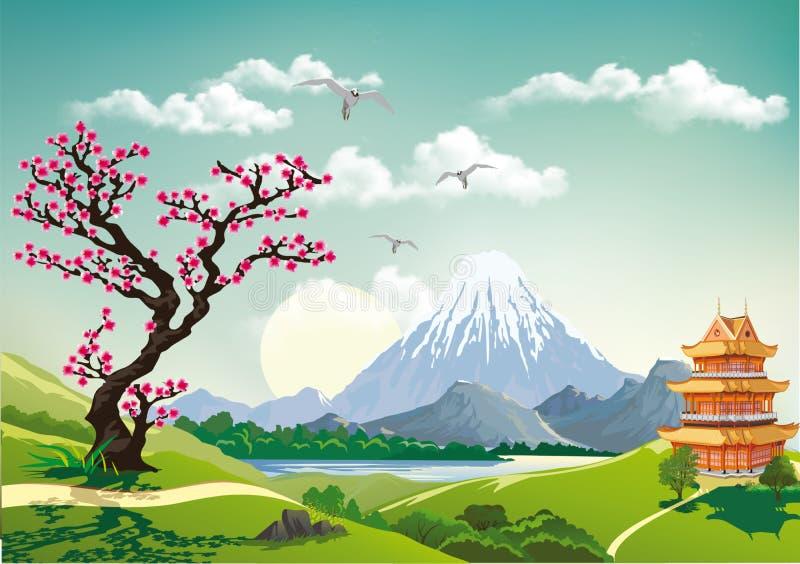 Landscape nature Japan this morning. royalty free illustration