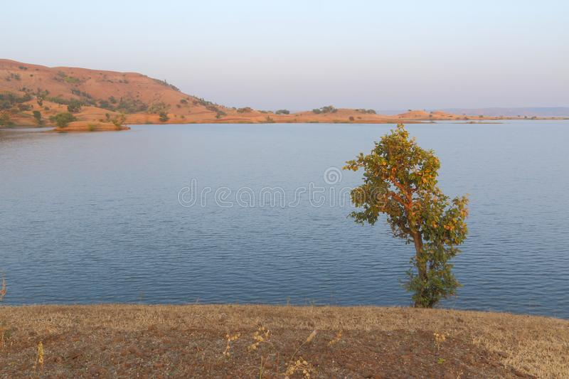 Landscape in nature, mahi back water, banswara, rajasthan, India. Brown land and green tree in foreground, water of mahi river in mid ground and brown mountain stock photography