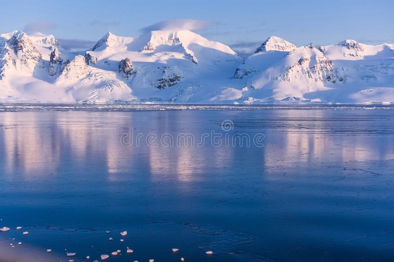 Landscape nature of the mountains of Spitsbergen Longyearbyen Svalbard arctic ocean winter polar day sunset. Norway landscape nature of the mountains of stock images