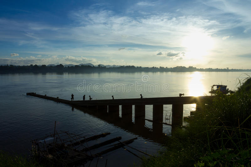 Landscape,nature,sunset. Sunset on the Mekong River royalty free stock photo
