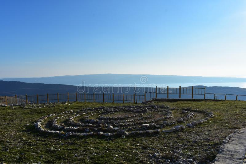 Field full of healing stones. Stone circle at the mountain. Landscape nature travel photography/ healing stones at the mountain whit panoramic view at horizon royalty free stock photos