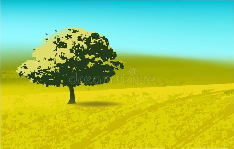 Landscape, nature trees green grass background sky royalty free illustration