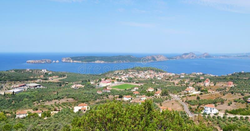 Landscape of Navarino bay and Sphacteria island Peloponnese Greece. Landscape of Navarino bay and Sphacteria island Messinia Peloponnese Greece royalty free stock photos