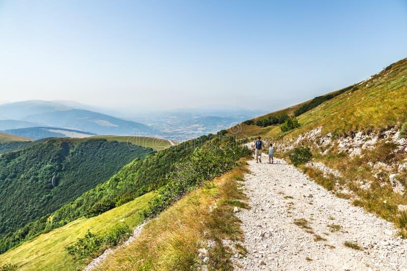Landscape near Fabriano. Italy. Fabriano, Italy - July 8, 2015: Family walks in the hills of the Apennines, near Fabriano. Italy royalty free stock image