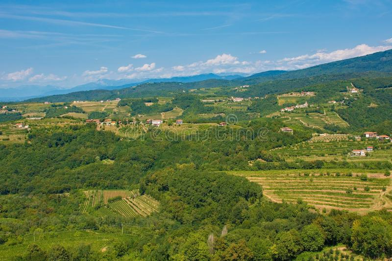 Landscape Near Smartno. The landscape near the historic Slovenian village of Smartno in the Goriska Brda area in Primorska royalty free stock photo