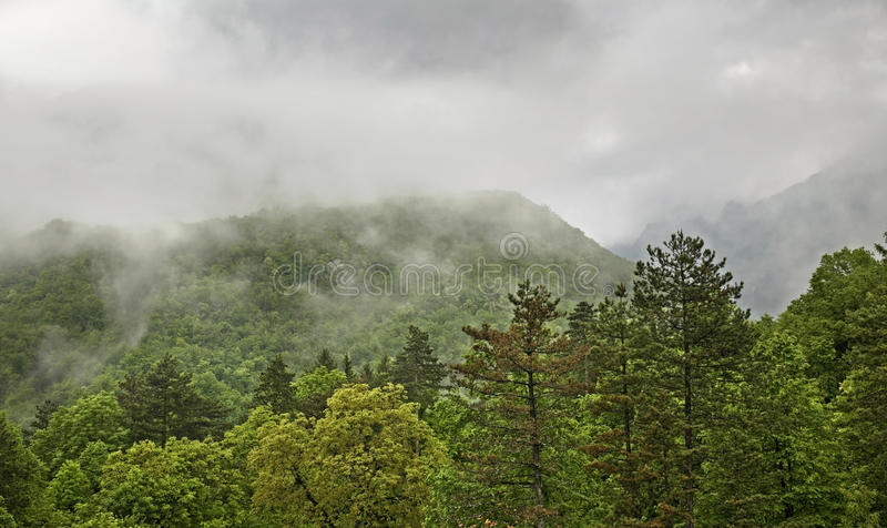 Landscape near Kobarid. Clouds. Slovenia.  stock photos