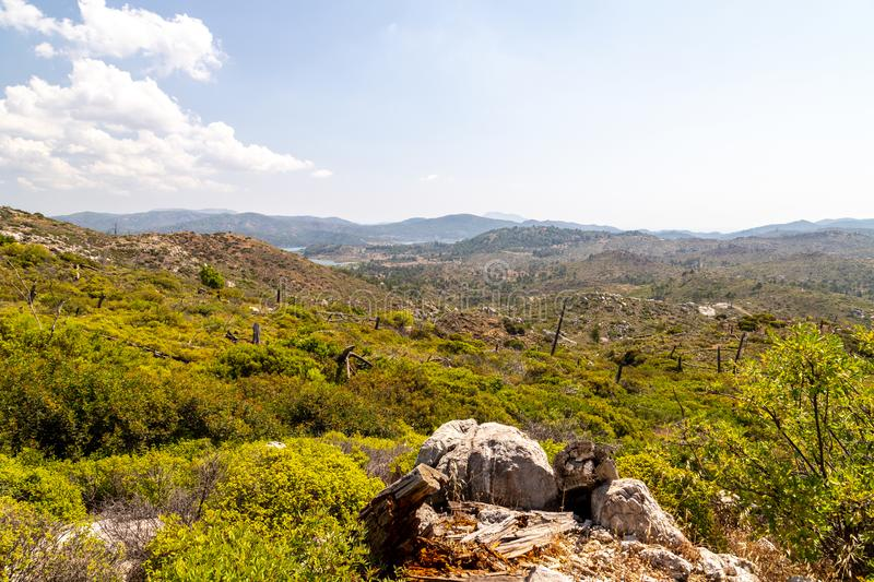 Landscape near Laerma on Greek island Rhodes 10 years after a forest fire stock image