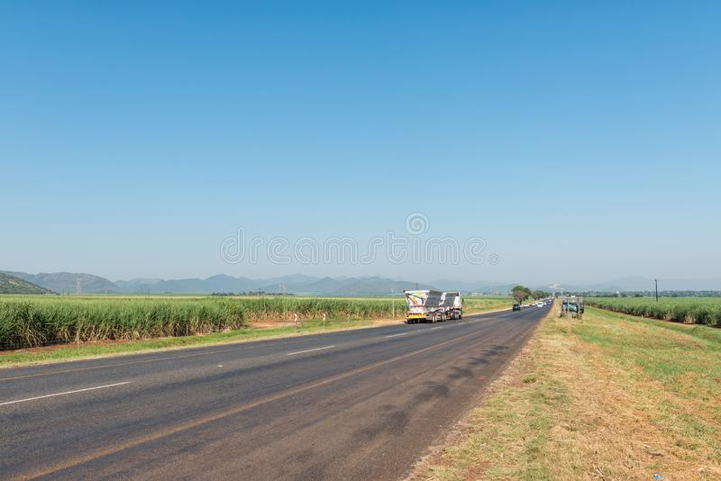 Landscape near Malalane. Sugar cane fields are visible. KAAPMUIDEN, SOUTH AFRICA - MAY 3, 2019: Landscape on road N4 near Malalane in the Mpumalanga Province stock photo