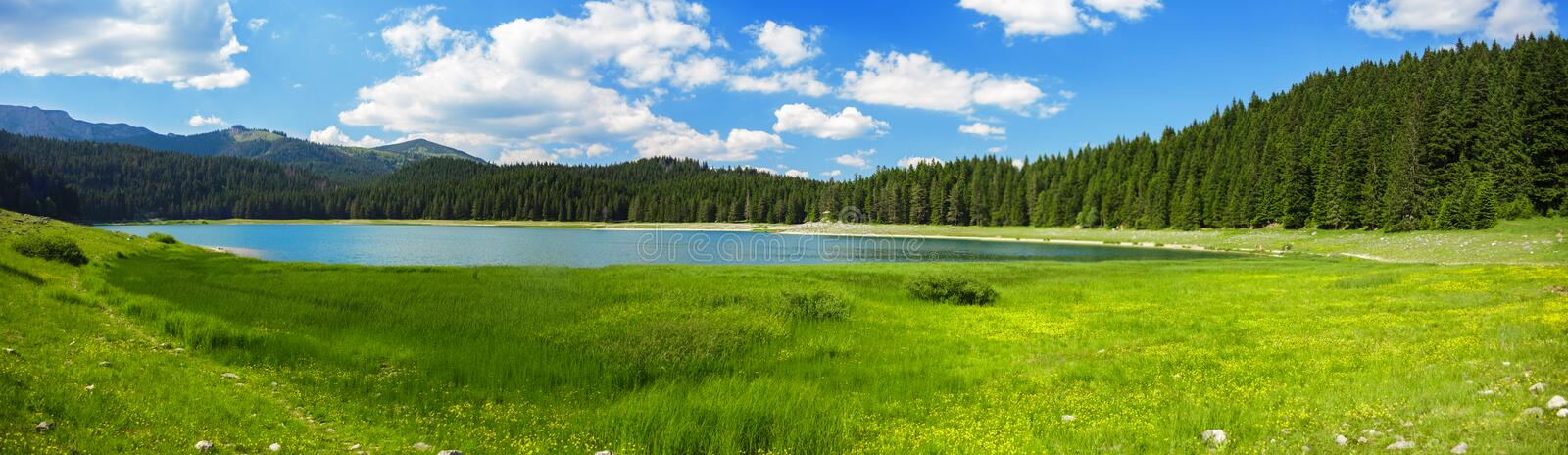 Landscape near mountain lake royalty free stock photography