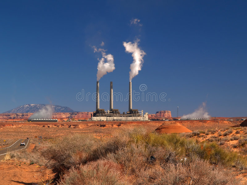The landscape near Page, Arizona with a power plant royalty free stock photography