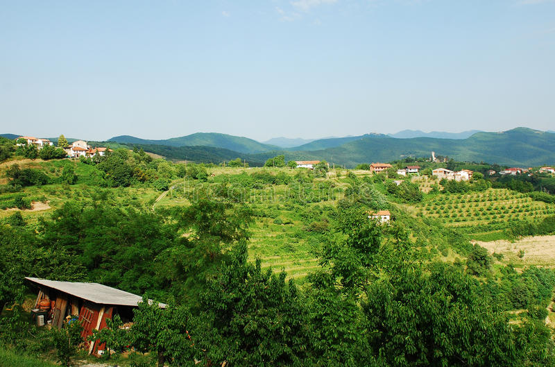 Landscape Near Smartno. The hilly green Slovenian landscape as viewed from the historic town of Smartno in the Goriska Brda area royalty free stock image