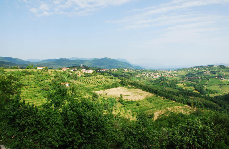 Landscape Near Smartno. The hilly green Slovenian landscape as viewed from the historic town of Smartno in the Goriska Brda area royalty free stock photography
