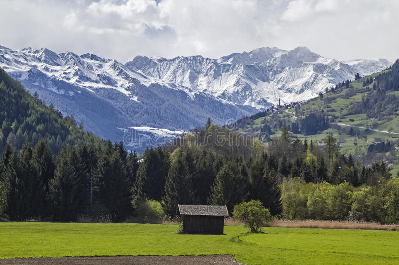 Landscape near Sterzing. Spring in the Eisack Valley near Sterzing stock photo
