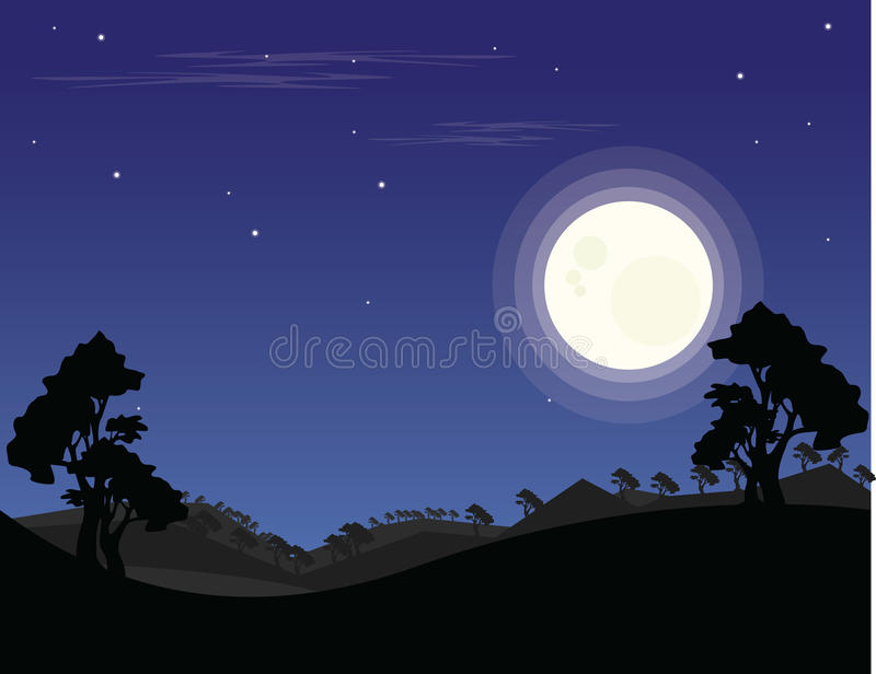 Landscape night flat design JPG and EPS royalty free stock images