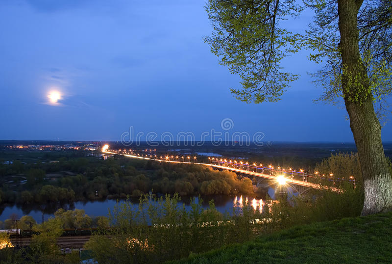 Download Landscape Night Moon stock photo. Image of light, railroad - 24745376
