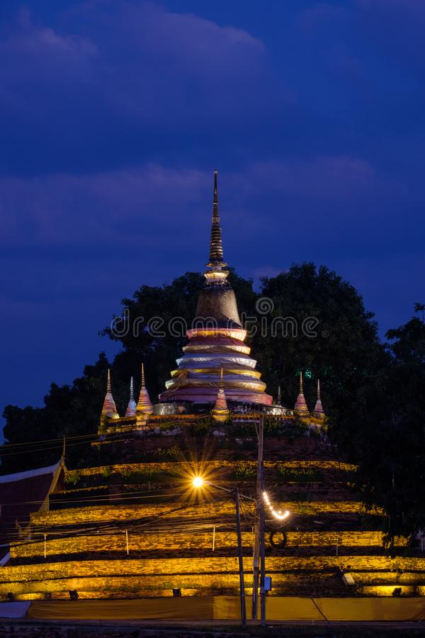 Landscape night sky and silhouette of ancient pagoda is named Wa stock images