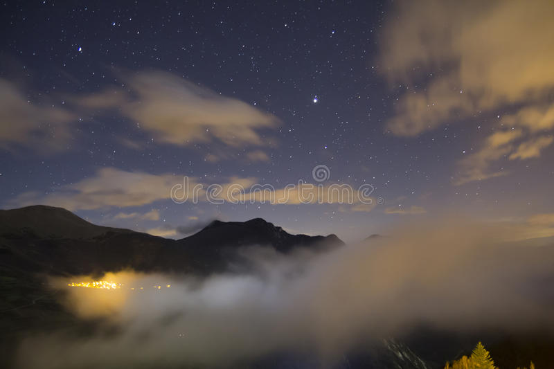 Landscape at night, with stars royalty free stock image