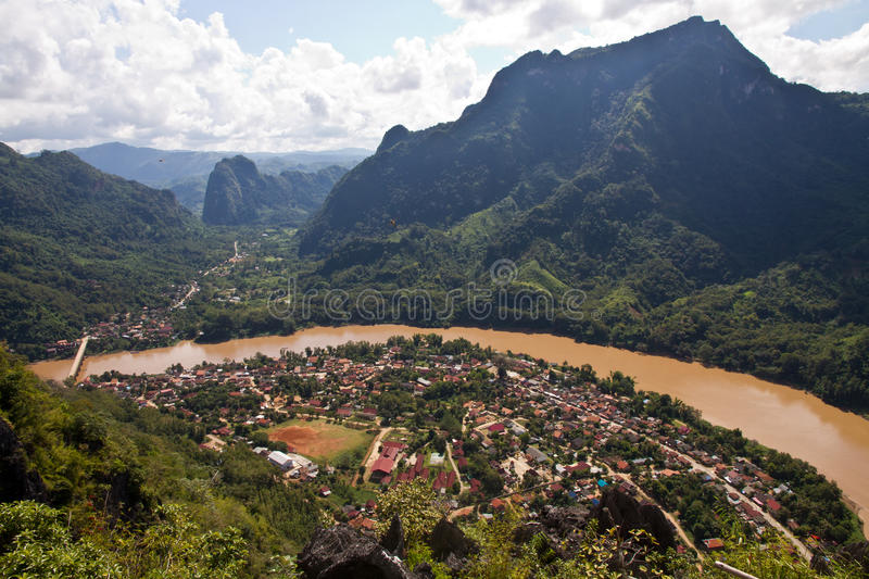 Landscape of Nong Khiaw and Ou river, Laos royalty free stock photos