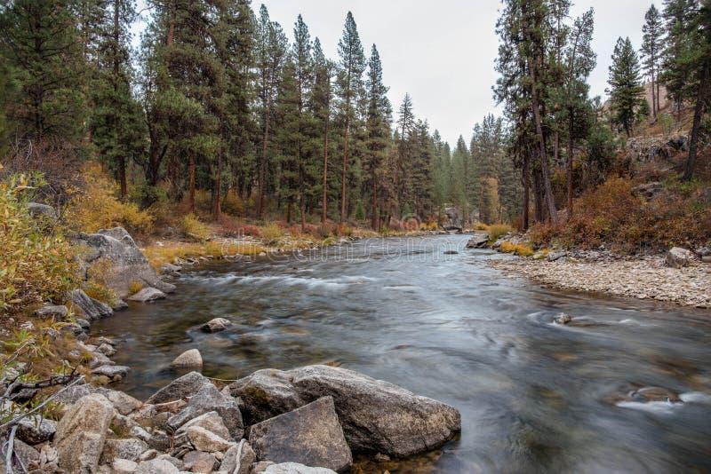 Landscape of north fork of Boise river in Idaho in the fall. Landscape image of north fork of Boise mountain river in Idaho in the fall royalty free stock image