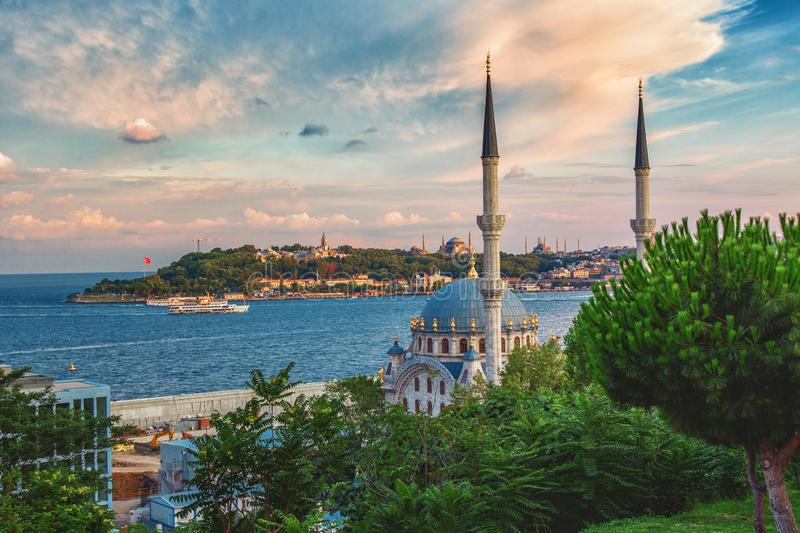 Landscape with Nusretiye mosque and historical peninsula of Istanbul. Landscape with Nusretiye mosque and historical peninsula through the green summer park royalty free stock image
