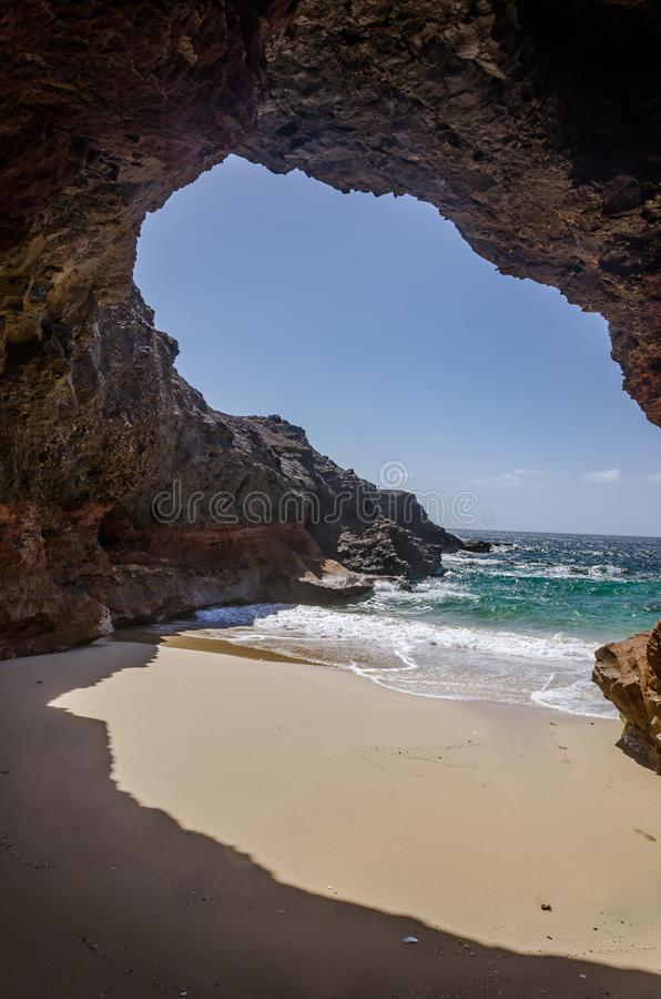 Cave and ocean stock photo